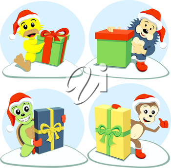The happy cartoon animals holding different Christmas gifts