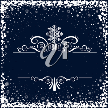 The white snow and swirly pattern on the dark background with text area