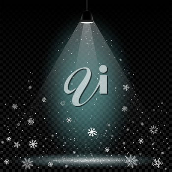 Christmas snow in lamp lights. Snowflakes falls on transparent background