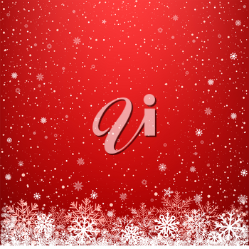 Red glowing light snow background. Falling snowflakes blizzard backdrop. Christmas winter decoration design template