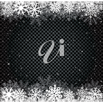 Snow transparent dark background. Falling snowflakes blizzard black backdrop. Christmas winter decoration design template