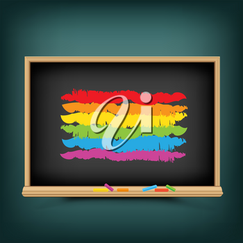 LGBT flag draw on school blackboard. Pride bisexual gay lesbian transsexual symbol. Love orientation equality lesson. Sexual education