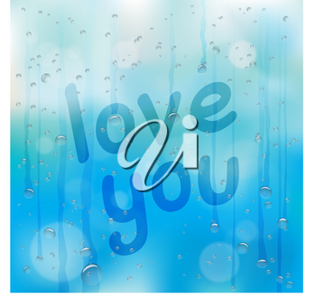 Hand drawn love you text on wet glass. Rainy window and message on blue sky background. Summer or autumn romantic note