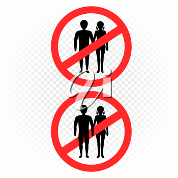 No entry man with woman sign on white transparent background. Married couple ban symbol sticker. Pair people silhouette template