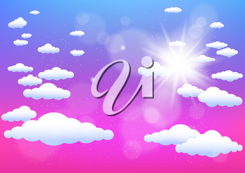 Sun and clouds summer template. Cartoon sky illustration. Realistic sunny effect