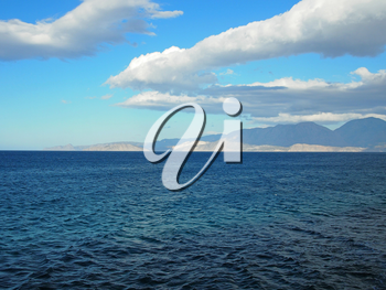 Greece, Crete - a view of the buy of Mirabello. Blue Mediterranean sea on a hot summer day.