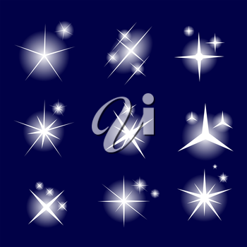 Set of Glowing Light Stars with Sparkles Vector Illustration EPS10