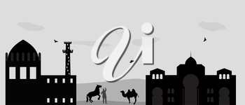 House in the Desert and camel. Vector Illustration.