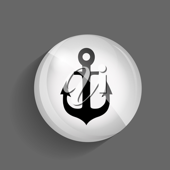 Sea Glossy Icon Vector Illustration on Gray Background. EPS10