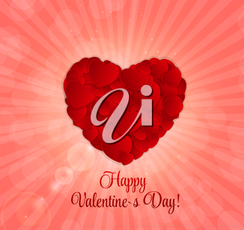 Happy Valentines Day Card with Heart. Vector Illustration. EPS10