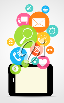 Business Internet on  Different Electronic Devices Concept. Vector Illustration