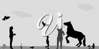 People Walk on, Connie, Birds Fly in Nature. Vector Illustration.