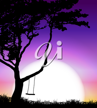 Silhouette of Tree on Sunset Background. Vector Illustration EPS10
