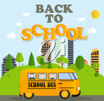 Back to School Background with Yellow Bus Vector Illustration EPS10