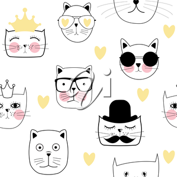 Cute Handdrawn Cat Seamless Pattern Vector Illustration EPS10