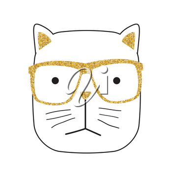 Cute Handdrawn Cat on White Vector Illustration EPS10