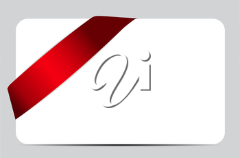 Gift Card with Red Ribbon. Vector illustration EPS10