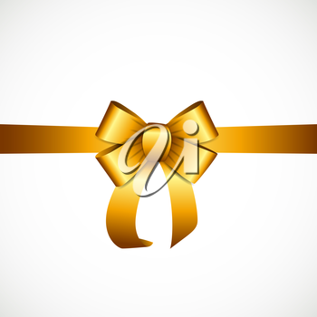 Gift Card with Gold Ribbon and Bow. Vector illustration EPS10