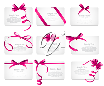 Card with Pink Ribbon and Bow Set. Vector illustration EPS10