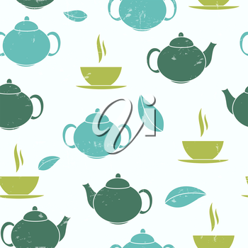 Tea Seamless Pattern Background Vector Illustration. EPS10