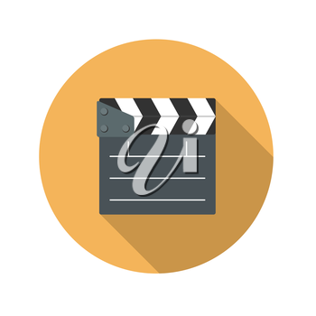 Flat Design Concept Cinema Slate Board Icon Vector Illustration With Long Shadow. EPS10