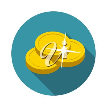 Flat Design Concept Vector Coin Illustration With Long Shadow. EPS10