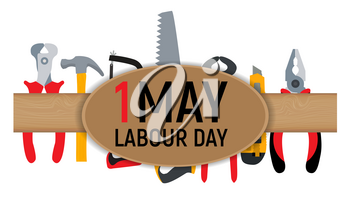 1 May Labour Day Poster or Banner. Vector Illustration EPS10