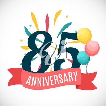 Anniversary 85 Years Template with Ribbon Vector Illustration EPS10