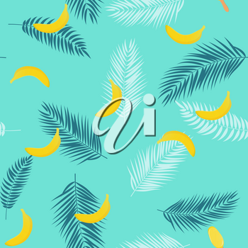 Beautifil Summer Seamless Pattern Background with Palm Tree Leaf Silhouette, Banana and Ice Cream. Vector Illustration EPS10