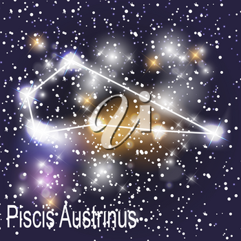 Piscis Austrinus Constellation with Beautiful Bright Stars on the Background of Cosmic Sky Vector Illustration. EPS10