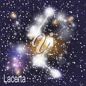 Lacerta Constellation with Beautiful Bright Stars on the Background of Cosmic Sky Vector Illustration. EPS10