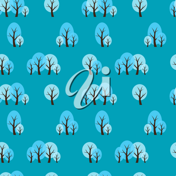 Seamless Pattern Natural Background with Winter Trees. Vector Illustration EPS10