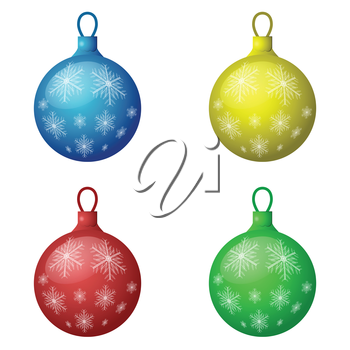 Christmas decorations icon set - color balls, 3d illustration, isolated on white background, vector, eps10