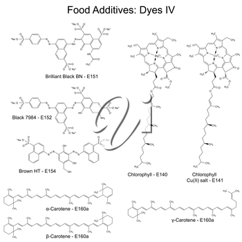 Food dyes - structural chemical formulas of food additives, fourth set E151-E160a, E140-141, 2d illustration on a white background, vector, eps 8