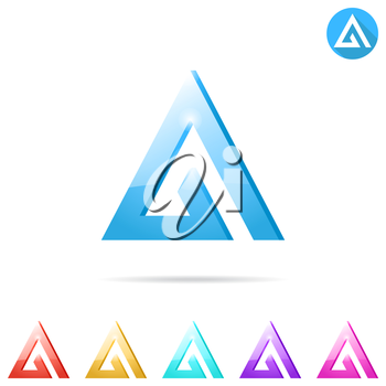 Delta letter logo template with color variations, 2d and 3d illustration, isolated, vector, eps 10