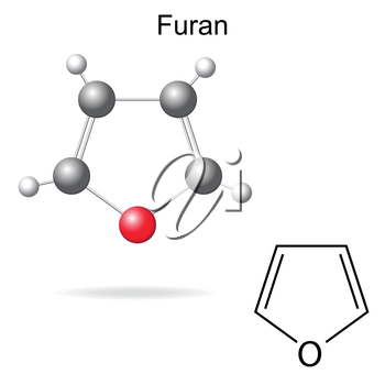 Structural chemical formula and model of furan molecule, 2d and 3d illustration, isolated, vector, eps 8
