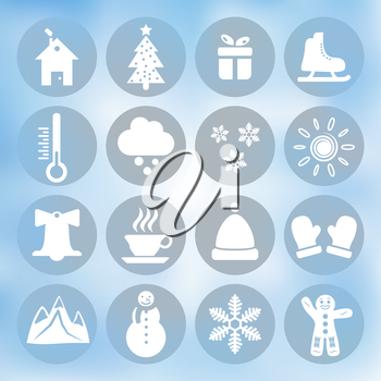 Winter icons set on blue background, gradient mesh, 16 signs on round plates, 2d vector, eps 10