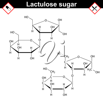 Lactulose molecule - stereoisomer of lactose, purgative prebiotic agent, mdeical drug, 2d vector, eps 8