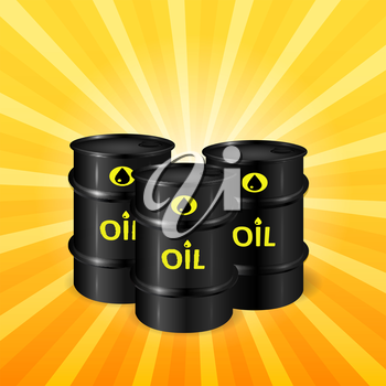 Oil barrels on sunray background, natural resources  3d vector, eps 10