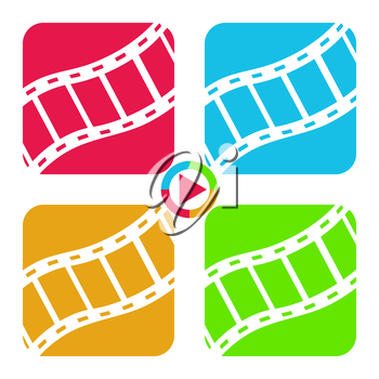 Film tape icons, 2d multicolored vector signs, eps 8