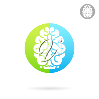 Brain medical icon on colored round plate, 2d vector icon, medical logo illustration, eps 10