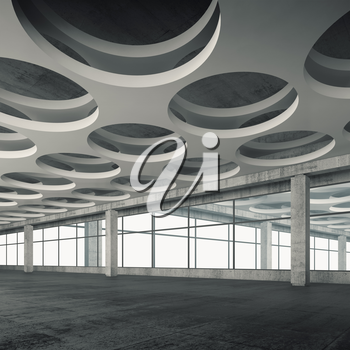 Empty concrete interior background with round holes ceiling pattern, 3d illustration