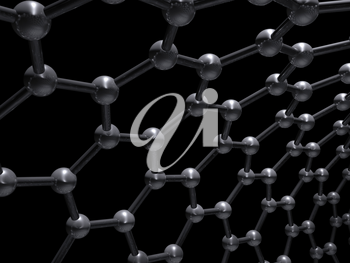 Single-walled zigzag carbon nanotubes molecular structure, carbon atoms connected in wrapped hexagonal lattice isolated on black background, 3d illustration