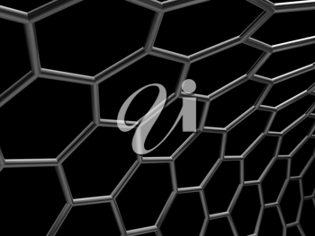 Hexagonal mesh structure isolated on black background. 3d illustration