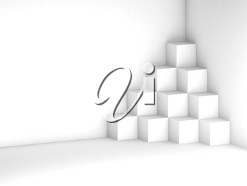 Abstract geometric background  with white cubes installation in a corner of blank white room, 3d render illustration