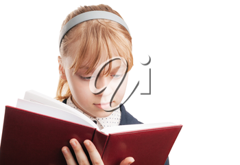 Closeup portrait of blond Caucasian schoolgirl with book isolated on white