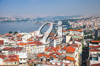 Istanbul, Turkey. Cityscape with Golden Horn a major urban waterway and the primary inlet of the Bosphorus, photo taken from the viewpoint of Galata tower