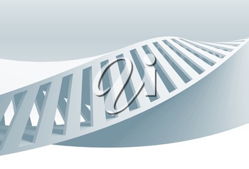 Abstract white spiral structure, helix frame, blue toned 3d illustration