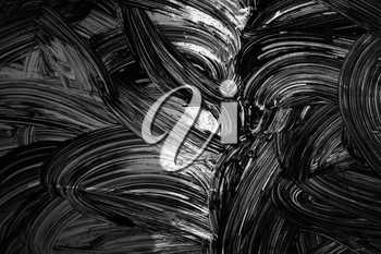 Abstract background texture, white curved brush strokes paint pattern over black wall