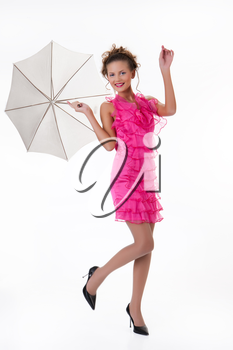 Young beautiful woman with umbrella on isolated studio background